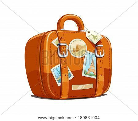 Suitcase for travel with stickers. Touristic baggage. Vintage leather bag. Vacation accessory Isolated white background. Vector illustration.
