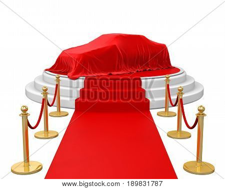 Presentation of the New Car on Stage with Barrier Rope isolated on white background. 3D render