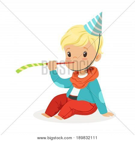 Cute baby boy wearing a party hat sitting with party blower. Kids birthday party colorful cartoon character vector Illustration isolated on a white background