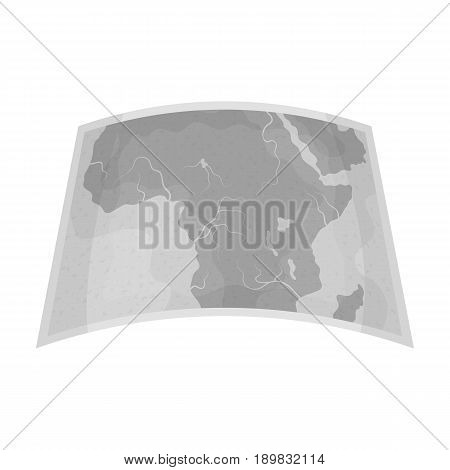 Map of mainland Africa.African safari single icon in monochrome style vector symbol stock illustration .