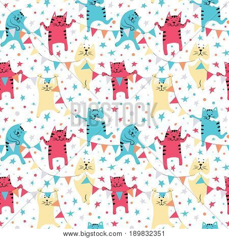 Cute cats with colorful flags. Happy Birthday seamless pattern. Party holiday background with pets and decorations.