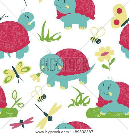 Cute cartoon turtles butterfly and dragonfly seamless pattern. Nature vector background with reptiles and insects.