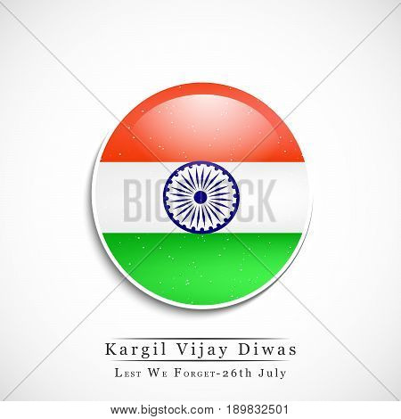 illustration of button in India flag background