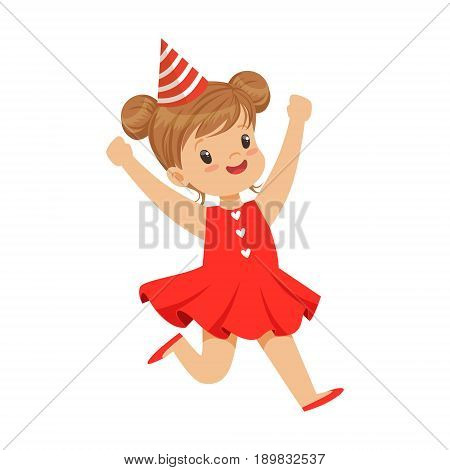 Happy smiling baby girl wearing a red dress and party hat jumping. Childrens birthday party colorful cartoon character vector Illustration isolated on a white background