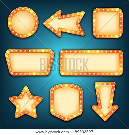 Retro marquee frames with light bulbs vector. Neon marquee signs. Round arrow square rectangular star empty light frame. Vintage borders.