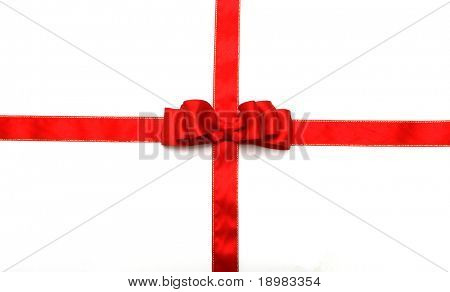 red ribbon and red bow on white background