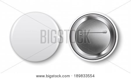 White pin button vector. Pin button set. Collection of realistic pin buttons. White blank badge pin brooch isolated on white background. 3D vector style. Web button.