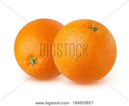 Two ripe orange isolated on white background with shadows. The orange fruit entirely.