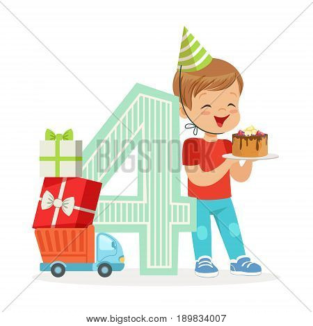 Adorable four year old boy celebrating his birthday with birthday cake, colorful cartoon character vector Illustration isolated on a white background