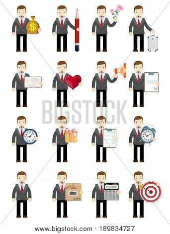 Set. Businessman Holding Money, pencil, flowers, suitcase, envelope, heart, megaphone contract clock gift box alarm clock agreement calculator mystery arrow. Stock flat vector illustration.