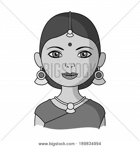 Hindu woman.Human race single icon in monochrome style vector symbol stock illustration .
