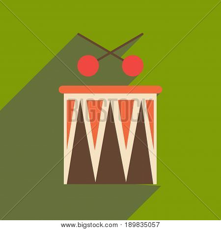 Flat web icon with long shadow carnival drums