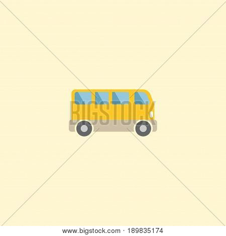 Flat Bus Element. Vector Illustration Of Flat Omnibus Isolated On Clean Background. Can Be Used As Bus, Omnibus And Passenger Symbols.