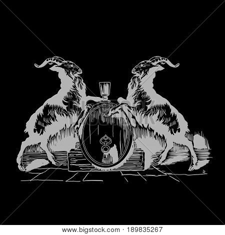 Monochrome Goats Beer Logo Poster with two identic animals and one big barrel vector illustration