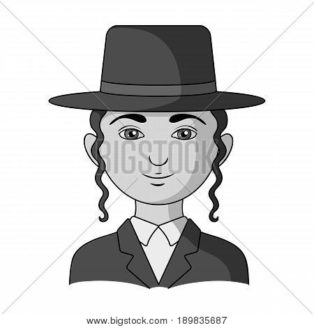 Jew.Human race single icon in monochrome style vector symbol stock illustration .