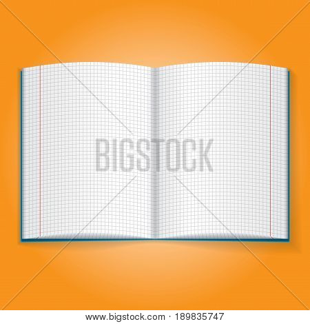 Realistic Object Icon with school exercise book on orange background isolated vector illustration
