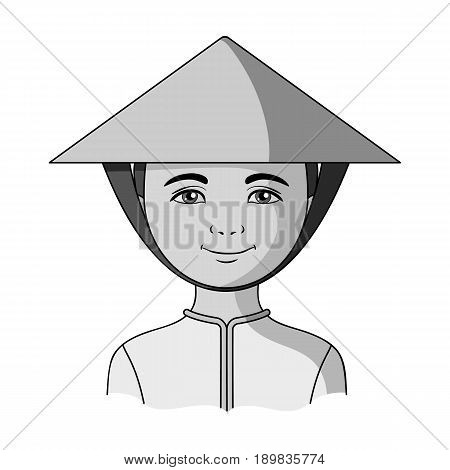 Vietnamese.Human race single icon in monochrome style vector symbol stock illustration .