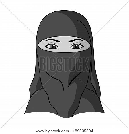 A woman from the Middle East.Human race single icon in monochrome style vector symbol stock illustration .