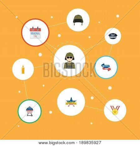 Flat History, Memorial Day, Medallion And Other Vector Elements. Set Of History Flat Symbols Also Includes Headgear, Cap, Banner Objects.