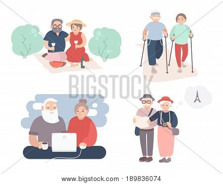 Set of happy elderly couple. Grandparents in different situations collection. Active lifestyle of old people. Colorful vector illustration in cartoon style