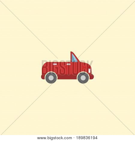 Flat Cabriolet Element. Vector Illustration Of Flat Transport Isolated On Clean Background. Can Be Used As Transport, Cabriolet And Car Symbols.