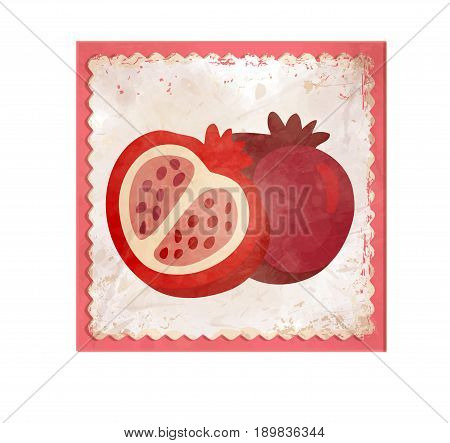 Bright garnet in a frame on whit background is a redy icon for your design. Fresh and tasty.