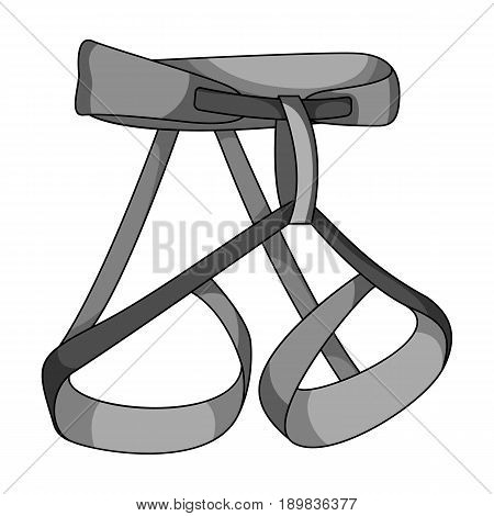 Climbing strapping, insurance.Mountaineering single icon in monochrome style vector symbol stock illustration .