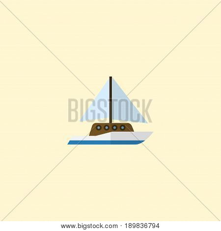 Flat Yacht Element. Vector Illustration Of Flat Sailboard Isolated On Clean Background. Can Be Used As Sail, Ship And Yacht Symbols.