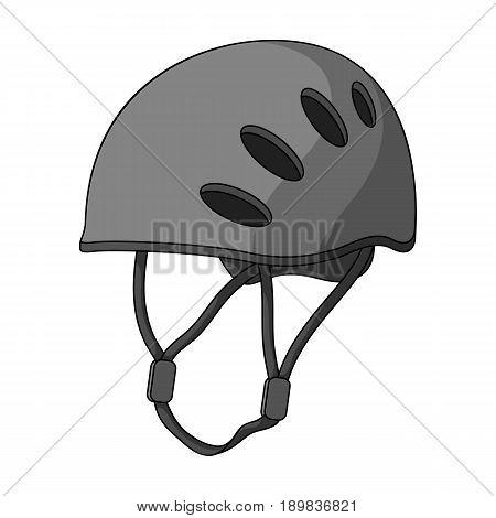 Plastic helmet climber.Mountaineering single icon in monochrome style vector symbol stock illustration .