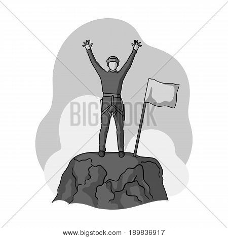Climber on conquered top.Mountaineering single icon in monochrome style vector symbol stock illustration .