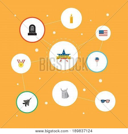 Flat Medallion, Decoration, American Banner And Other Vector Elements. Set Of Memorial Flat Symbols Also Includes Tag, Glasses, Banner Objects.