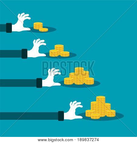 Difference In Income Vector Concept With Stacks Of Golden Coins
