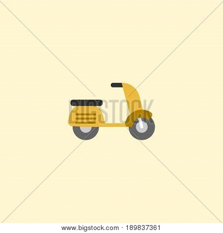 Flat Moped Element. Vector Illustration Of Flat Scooter Isolated On Clean Background. Can Be Used As Moped, Motorbike And Scooter Symbols.