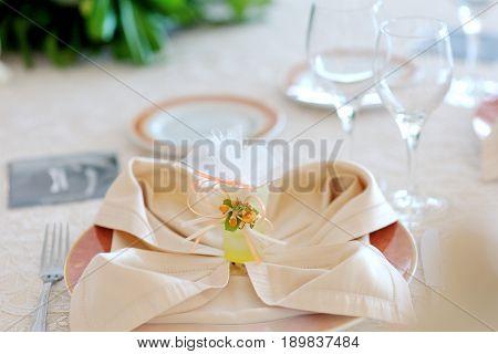 Wedding reception - beautiful table setting decoration