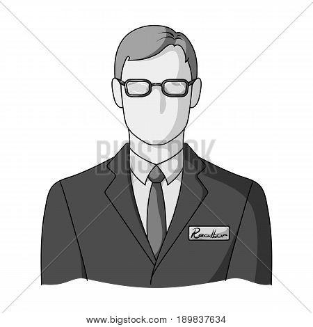 Male realtor.Realtor single icon in monochrome style vector symbol stock illustration .