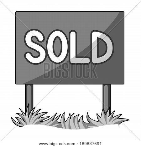 Signboard-sold.Realtor single icon in monochrome style vector symbol stock illustration .