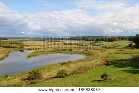 Country landscape. The valley of the river Soroti view from Savkina hill Pskov region Russia