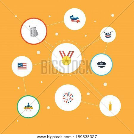 Flat Memorial Day, Fire Wax, Ribbon And Other Vector Elements. Set Of Memorial Flat Symbols Also Includes Medallion, Army, Firework Objects.