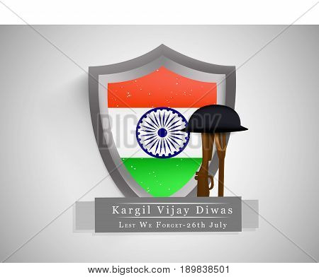 illustration of Shield in India flag background and rifle in hat with kargil vijay diwas text