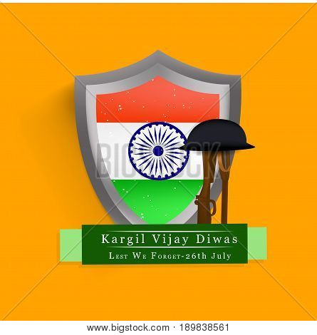 illustration of Shield in India flag background with rifle in hat and kargil vijay diwas text