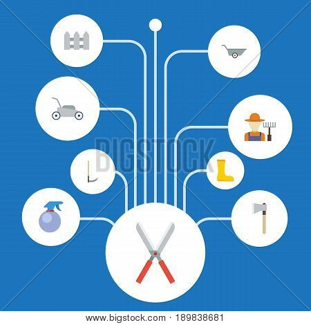 Flat Cutter, Axe, Spray Bottle And Other Vector Elements. Set Of Gardening Flat Symbols Also Includes Grower, Grass, Fence Objects.