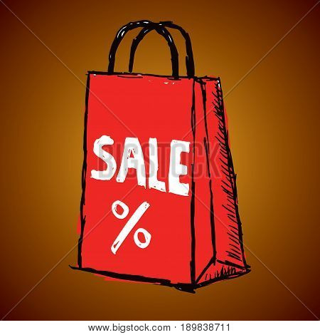 Creative Sale Poster with one big red packet and sign of percent isolated vector illustration