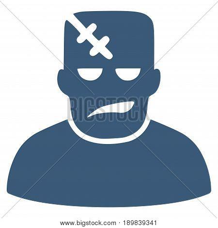 Blue Frankenstein toolbar pictogram. Vector pictogram style is a flat symbol on diagonal hatch transparent background.