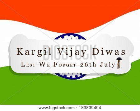 illustration of kargil vijay diwas text on India flag background