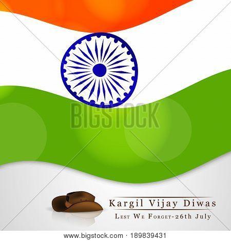 illustration of India flag and hat with kargil vijay diwas text