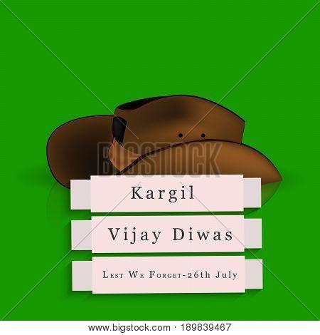 illustration of kargil vijay diwas text with hat