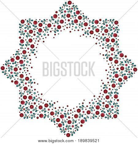 Patterned floral frame. Moroccan pattern design. Eight-ray star. Vector illustration. Moorish mosaic in multicolor on white background. Small flowers in octagon star shape.