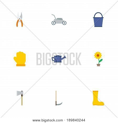 Flat Rubber Boots, Latex, Watering Can And Other Vector Elements. Set Of Horticulture Flat Symbols Also Includes Grass, Bucket, Lawnmower Objects.