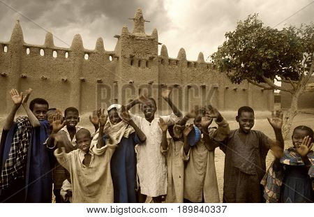 Mali, Djenne - January 25, 1992: Mosques Built Entirely Of Clay