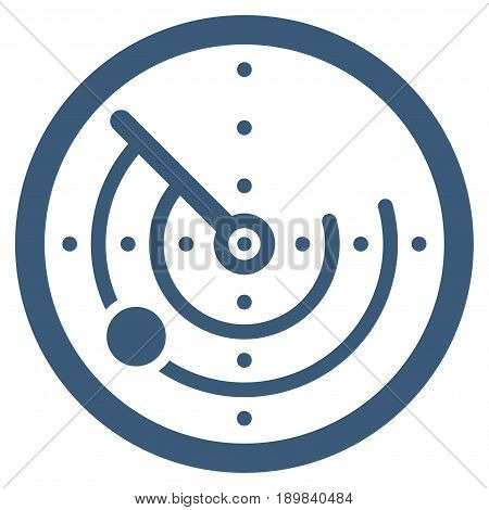 Blue Radar toolbar icon. Vector pictogram style is a flat symbol on diagonal hatch transparent background.